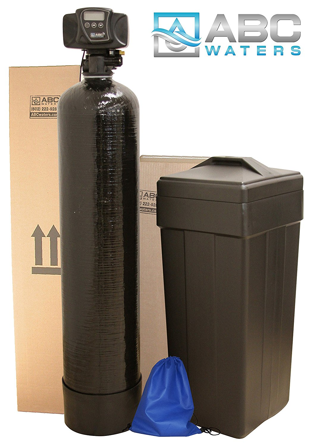 ABCwaters SS8-BLK Space Saver Fleck 5600sxt 48,000 Water Softener